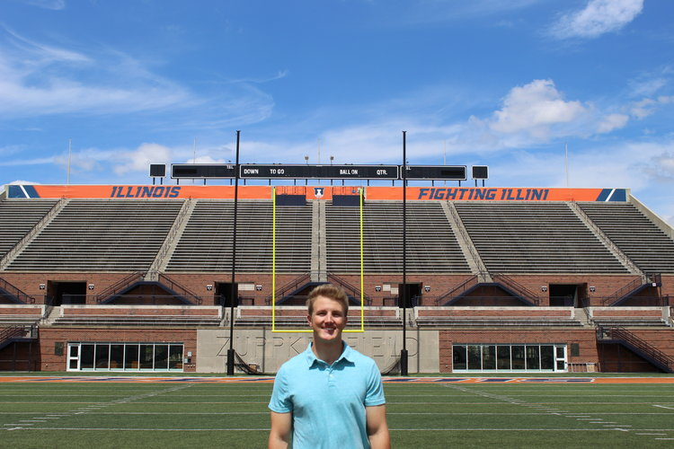 Senior LAS student Alex Bryk poses for a photo at Memorial Stadium.