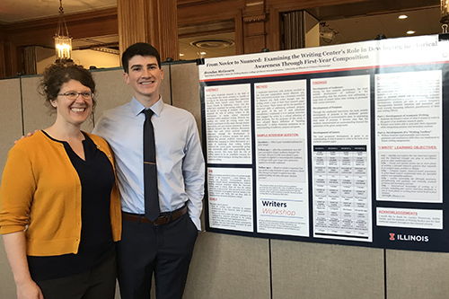 Brendan McGovern poses for a photo with professor Carolyn Wisniewski at the Undergraduate Research Symposium in April 2019.