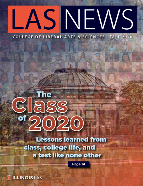 "The cover of the Fall 2020 edition of LAS News, which bears the headline, ""The Class of 2020: Lessons learned from class, college life, and a test like none other."" The background is a mosaic of photos of graduates from the LAS Class of 2020."