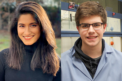 Sriyankari Chitti, left, a junior majoring in chemistry, and William Lyon, a junior in chemical and biomolecular engineering, were honored by the Barry M. Goldwater Scholarship and Excellence in Education Program.