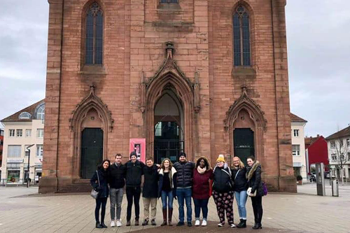 Students in front of a church