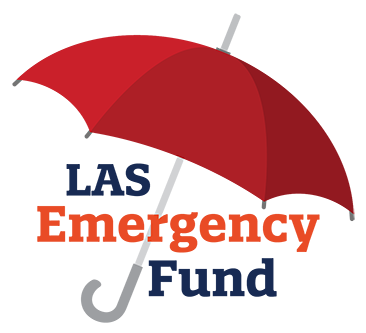 "A graphic of a red umbrella with the text ""LAS Emergency Fund"" underneath."