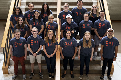 LAS 122 interns pose at Krannert Center for the Performing Arts