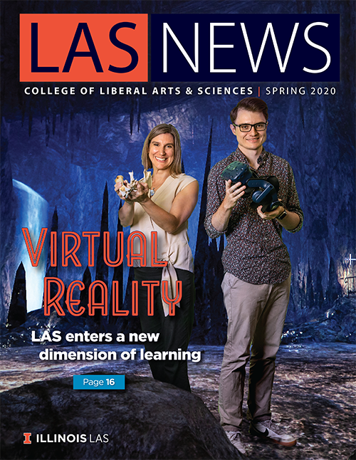 "The cover of the spring 2020 edition of LAS News, which bears the headline, ""Virtual Reality: LAS enters a new dimension of learning."" The background is a photo of two faculty holding VR units."