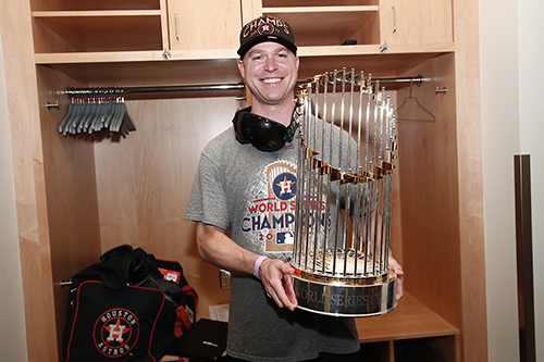 Dan O'Neill with World Series trophy