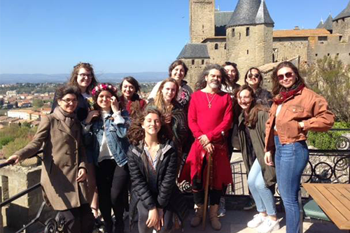 A group of students pose in Carcassonne, France