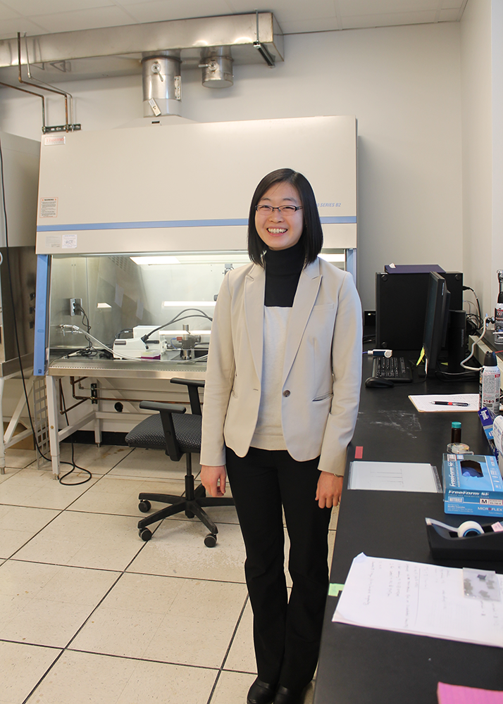 Ying Diao in the laboratory, where she studies the creation of eco-friendly electronics and materials. (Image courtesy of the Department of Chemical and Biomolecular Engineering.)
