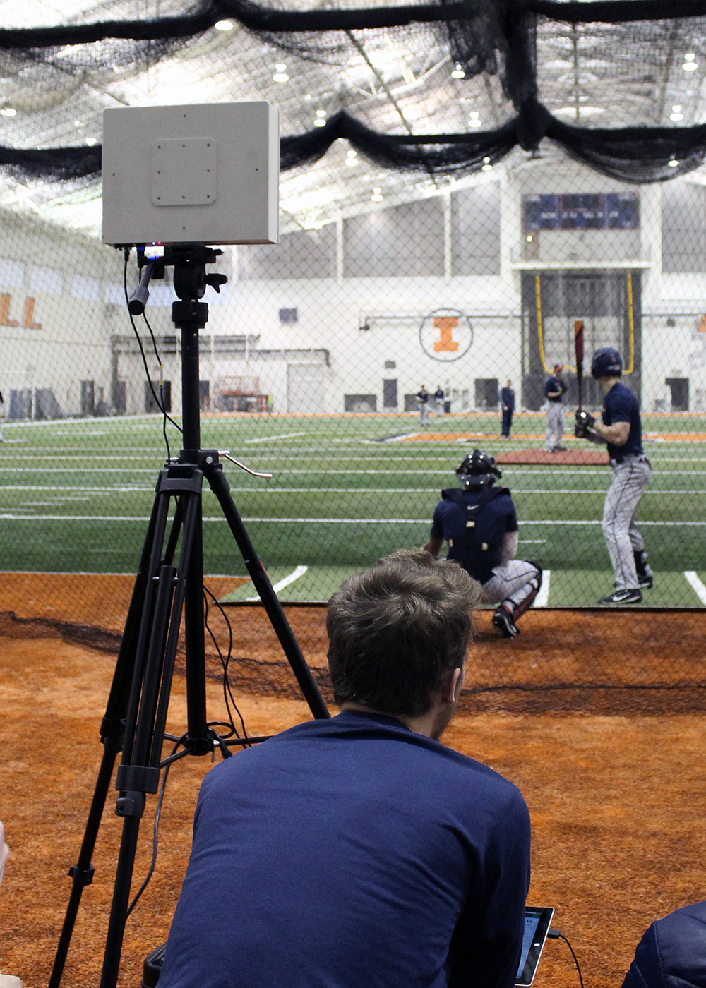 Charlie Young uses a FlightScope during a Fighting Illini Baseball practice. (Image courtesy of CS @ Illinois.)