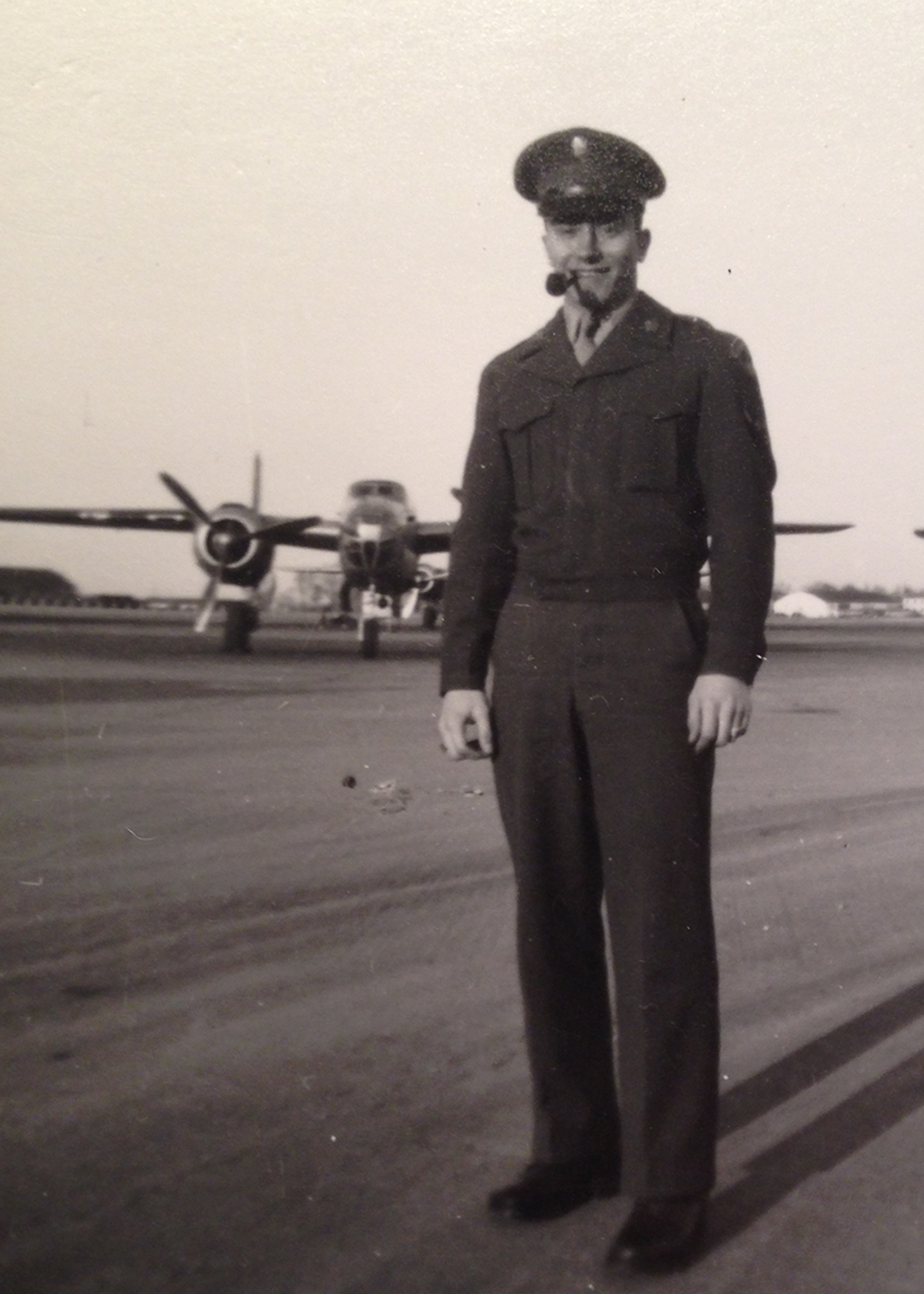 Joseph Sant'Angelo poses for a photo at Chanute Air Force Base, where he was base photographer. (Image courtesy of Joseph Sant'Angelo and the Department of Chemical and Biomolecular Engineering.)