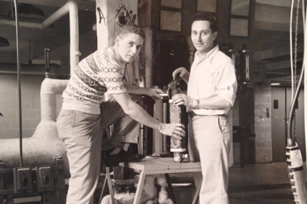 Joseph Sant'Angelo, at right, poses with a fellow student during his days at U of I. (Image courtesy of Sant'Angelo and the Department of Chemical and Biomolecular Engineering.)