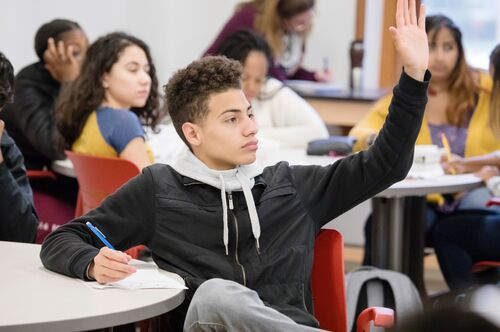 A student raises his hand in class.