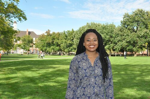 Lincoln Scholar Ryan Renee Edwards poses on the Main Quad