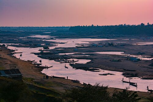 Sediment mining in the Surma River valley in northern Bangladesh