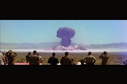 A nuclear test in the Nevada desert in the early 1950s.