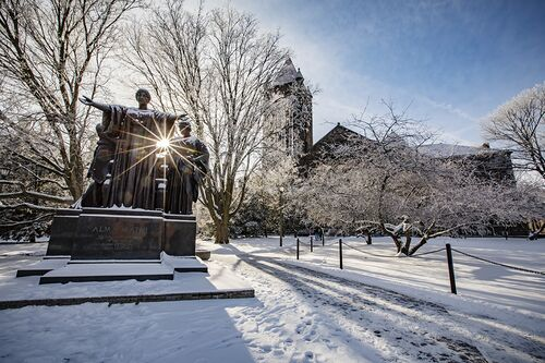 Alma and Altgeld on a snowy morning