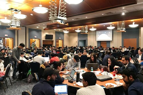 Students participating in Datathon