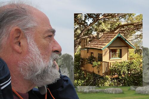 Dual image of Fred Stahl and treehouse