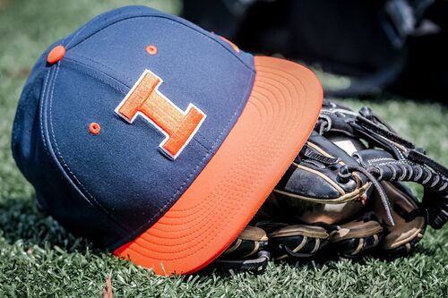 Illinois baseball hat, ball, and gloves