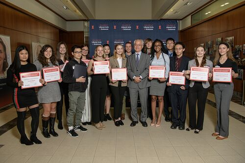 Scholarship recipients and Dean Feng Sheng Hu