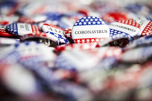 Political buttons marked with coronavirus