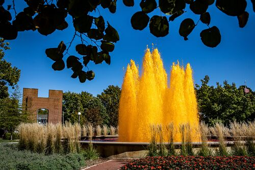 Fountain dyed orange