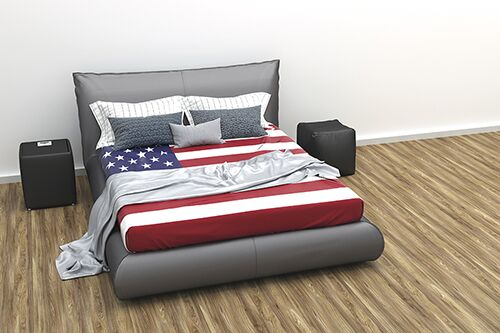 Bed with American flag covers