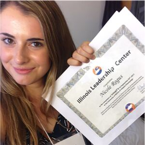 Nicole Rogus holds a certificate from the Illinois Leadership Center