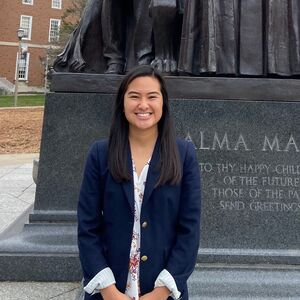 LAS junior Megan Choi poses for photo in front of Alma Mater