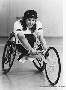 Jean Driscoll pictured in a racing wheelchair